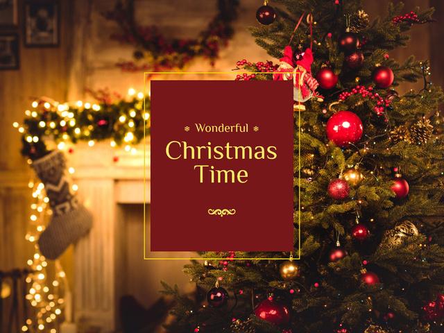 Christmas Tree in Decorated Room Presentation – шаблон для дизайна