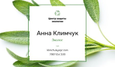 Ecologist Services with Healthy Green Herb Business card – шаблон для дизайна