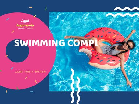 Swimming Complex Opening with Woman Relaxing on Floating Ring Presentation tervezősablon