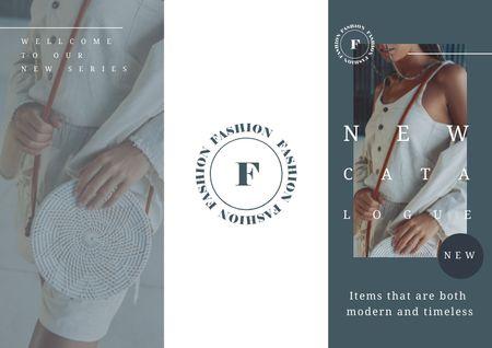 Bags Catalogue Ad with Stylish Woman Brochure Modelo de Design