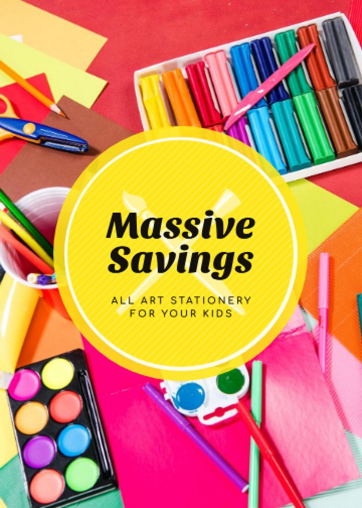 School Supplies Sale Colorful Stationery Flayerデザインテンプレート