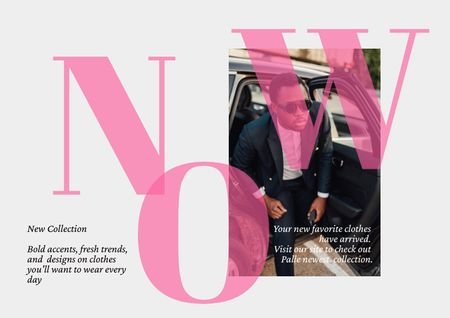 Modèle de visuel Fashion Ad with Stylish Man in Car - Brochure