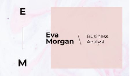 Business Analyst Ad with Watercolor Pattern in Pink Business card Tasarım Şablonu