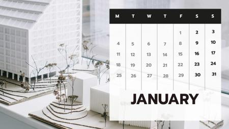 Architectural Studio office with Building model Calendar Design Template