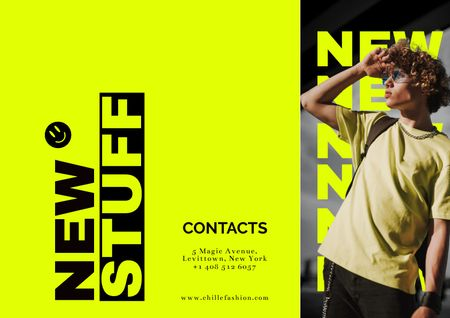 Modèle de visuel Fashion Ad with Stylish Hipster - Brochure