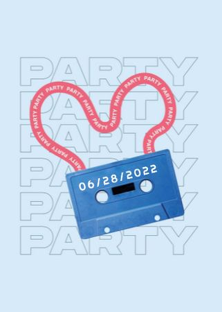 Party announcement with cassette and tape Invitation – шаблон для дизайна