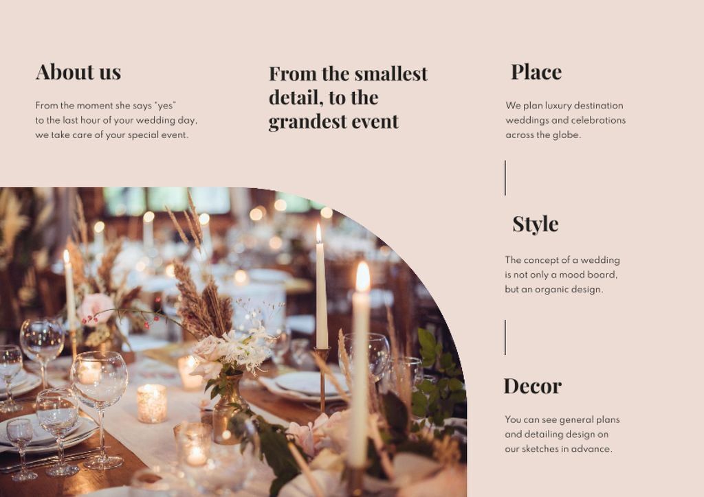 Festive Catering and Serving on Wedding Day Brochure – шаблон для дизайна