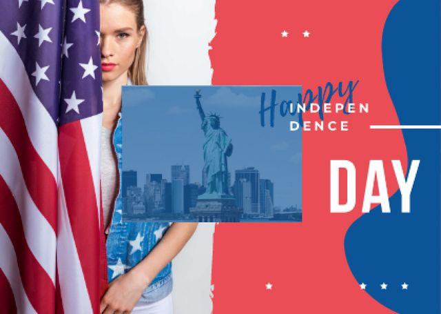 Plantilla de diseño de Woman with American flag Postcard