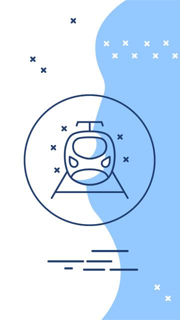 Travelling and Transport icons in blue Instagram Highlight Cover Tasarım Şablonu