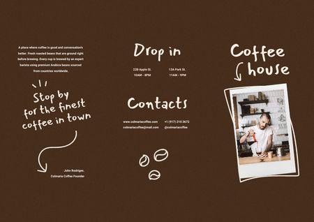 Platilla de diseño Coffee House Ad with Barista making Coffee Brochure