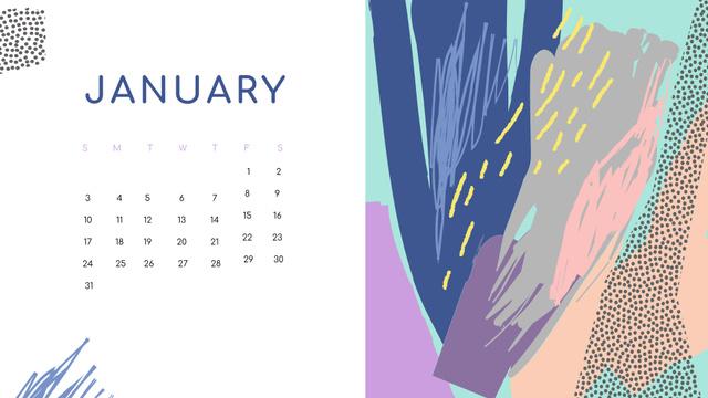 Colorful Paint blots in bright colors Calendar Design Template