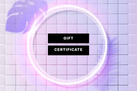 Neon Frame on tiles Gift Certificate Modelo de Design