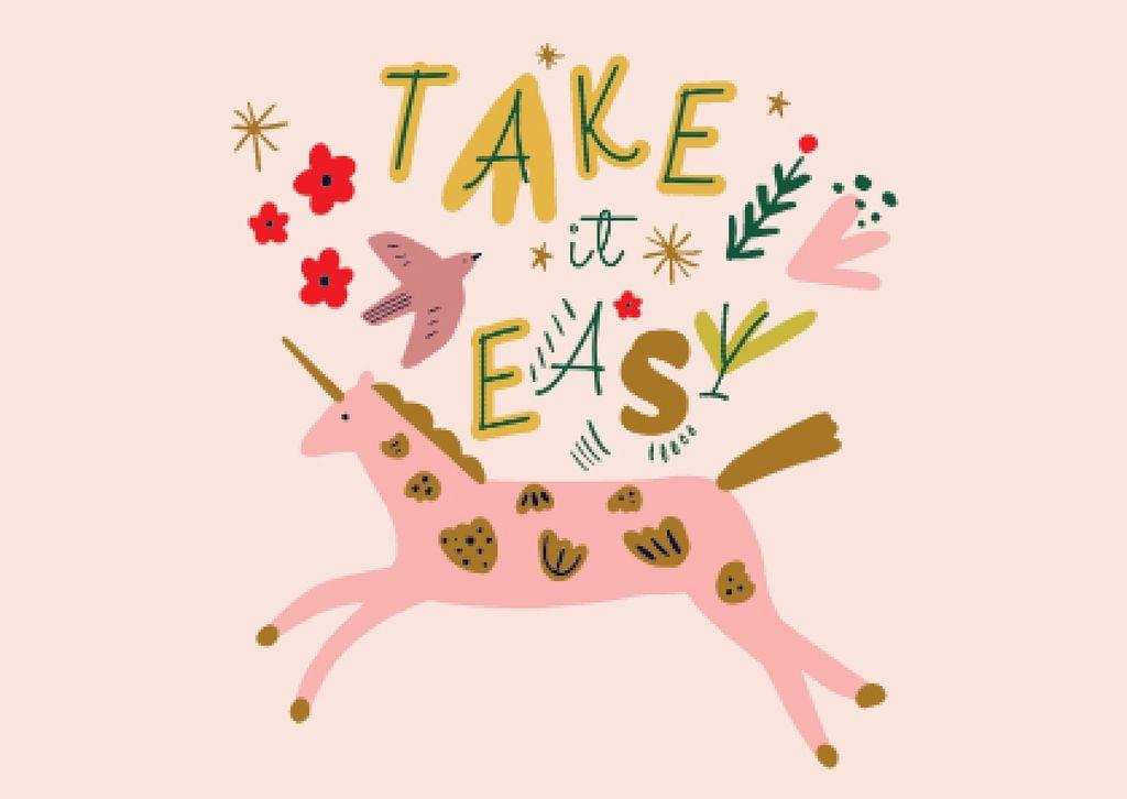 Ontwerpsjabloon van Postcard van Mental Health Inspirational Phrase with Unicorn