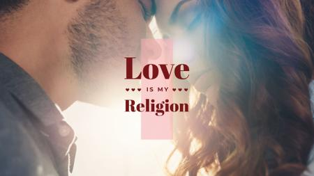 Plantilla de diseño de Religion Quote with Happy loving couple Presentation Wide