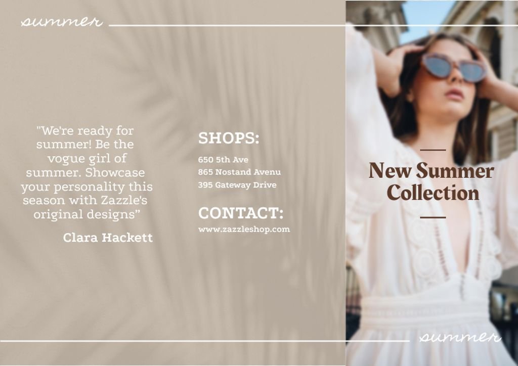 Summer Fashion Collection Ad with Stylish Woman Brochureデザインテンプレート