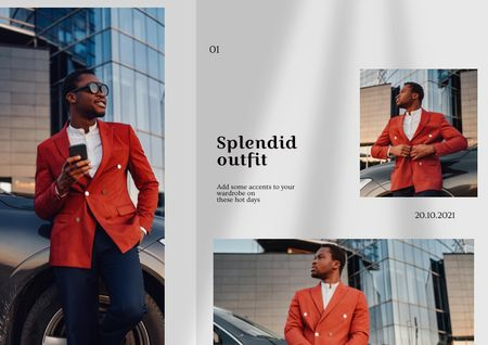 Ontwerpsjabloon van Brochure van Fashion Ad with Stylish Man in Bright Outfit