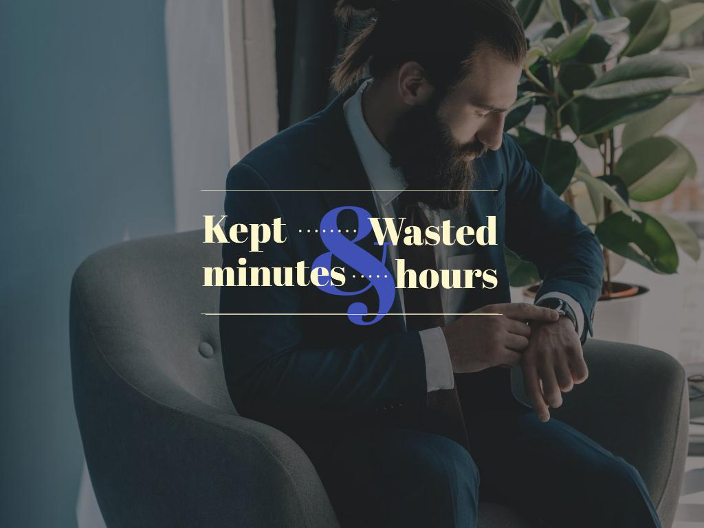 Ontwerpsjabloon van Presentation van Businessman cheking watches