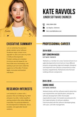 Template di design Software Engineer professional profile Resume