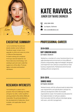 Software Engineer professional profile Resume Tasarım Şablonu