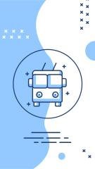 Travelling and Transport icons in blue