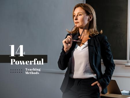 Ontwerpsjabloon van Presentation van Teaching Methods Ad with Successful Teacher