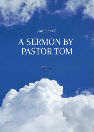 Church Sermon announcement on blue sky Flayer – шаблон для дизайну