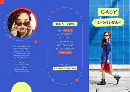 Fashion Ad with Stylish Woman Brochure Modelo de Design