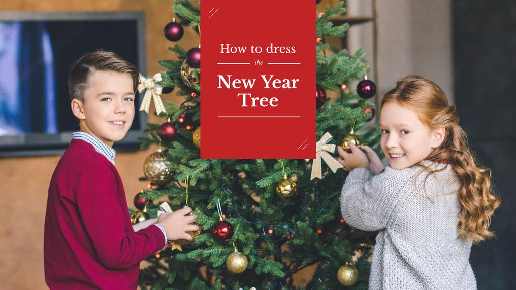 Kids decorating New Year Tree — Créer un visuel