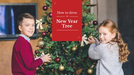 Template di design Kids decorating New Year Tree Presentation Wide