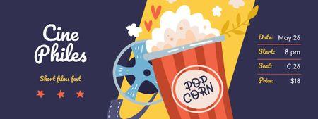 Plantilla de diseño de Short Film Fest with Popcorn and Reel Ticket