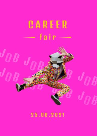 Career Fair announcement with funny man Flayer – шаблон для дизайну