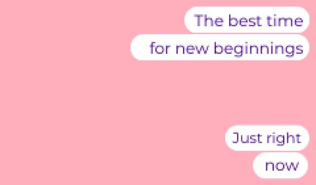 Motivational Phrase about New Beginnings Business card – шаблон для дизайна