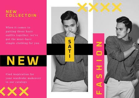 Plantilla de diseño de Stylish Handsome Young Man Brochure