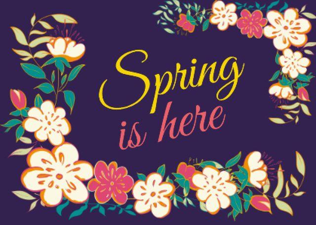 Bright blooming flowers Postcard – шаблон для дизайну
