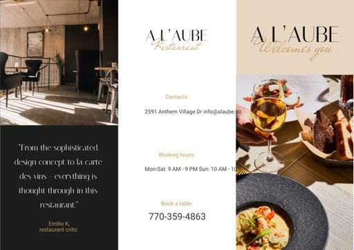 Restaurant Ad With Modern Minimalistic Interior Brochure
