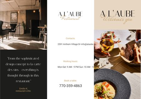 Restaurant Ad with Modern Minimalistic Interior Brochure Modelo de Design