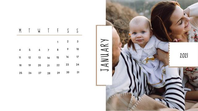 Family on a Walk with Baby Calendar – шаблон для дизайну