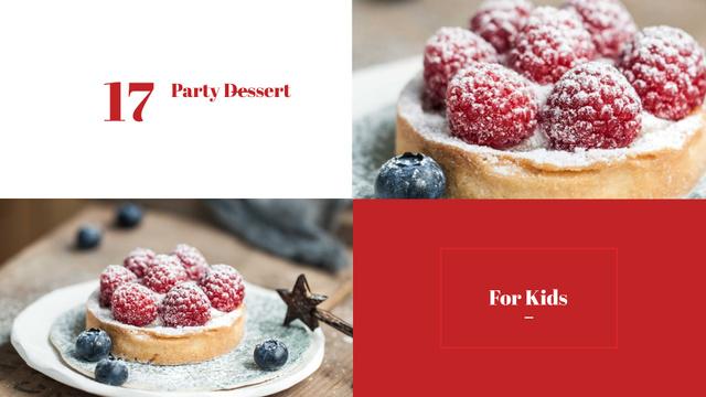 Kids Party Desserts with Sweet Raspberry Tart Presentation Wide – шаблон для дизайну