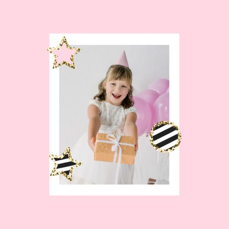 Cute Girl celebrating Birthday Photo Book – шаблон для дизайна