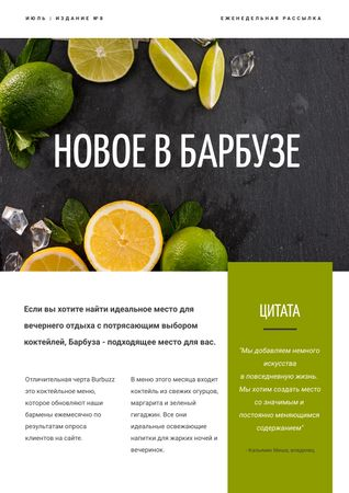 New Menu Annoucement with Fresh Lime Newsletter – шаблон для дизайна