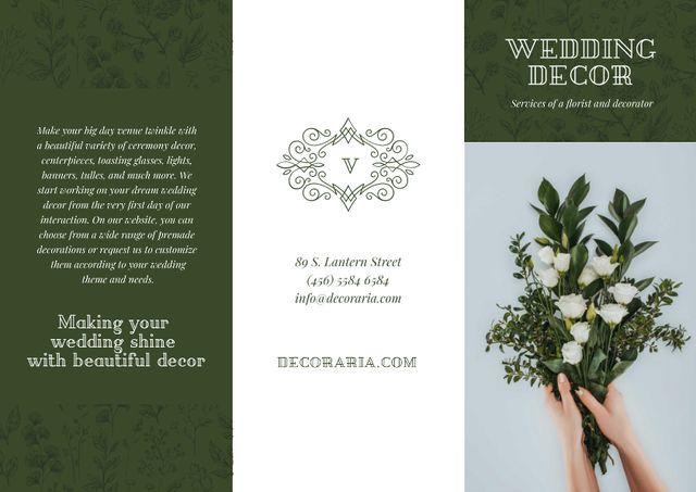 Plantilla de diseño de Wedding Decor Offer with Woman holding Bouquet of Tender Flowers Brochure