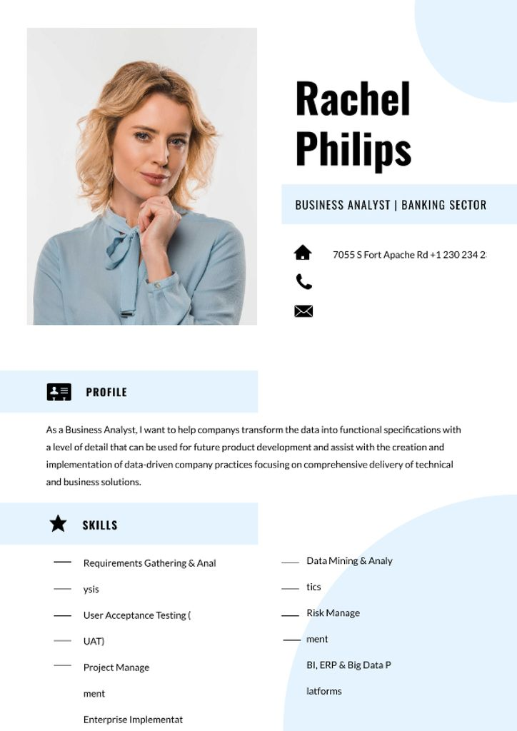 Modèle de visuel Business Analyst in Banking industry professional profile - Resume