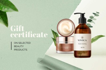 Plantilla de diseño de Jars with Beauty products Gift Certificate