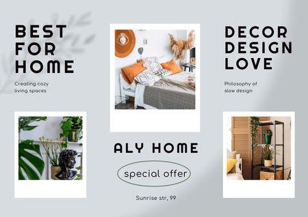 Ontwerpsjabloon van Brochure van Interior Design Offer with Stylish Room Decoration