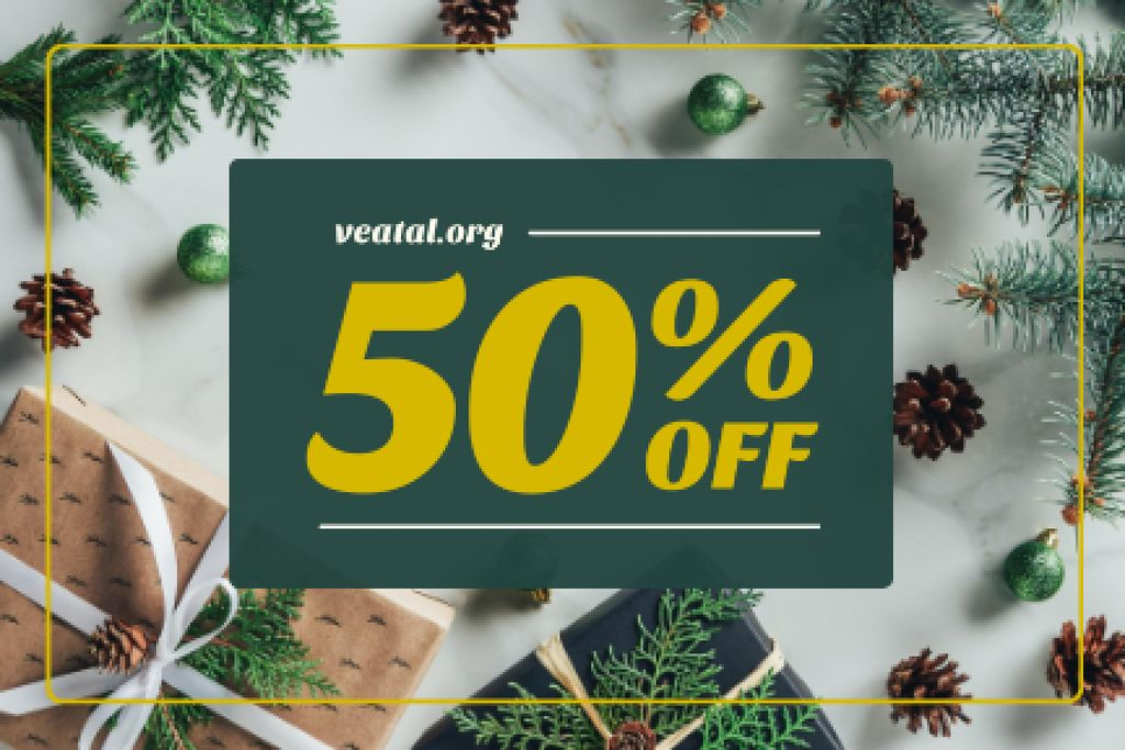Holidays Sale with Gifts and Fir Tree — Crea un design