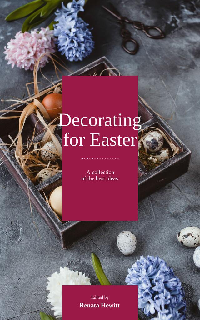 Easter Decor Quail Eggs in Nest Book Cover Design Template
