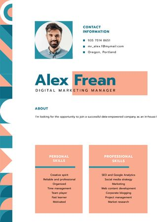 Plantilla de diseño de Marketing Manager professional skills and experience  Resume