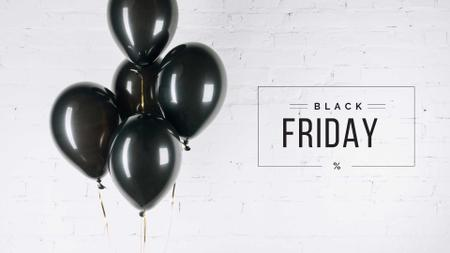 Template di design Black Friday Ad with Black Balloons Presentation Wide