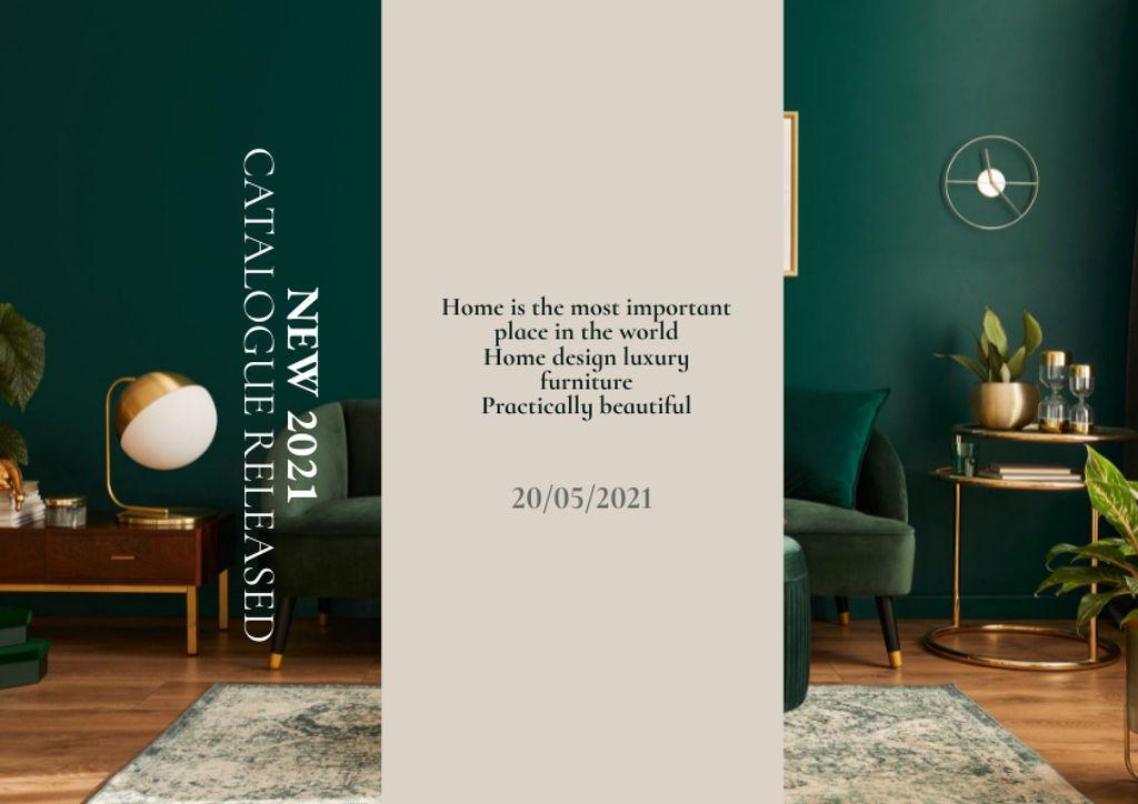 Stylish Interior in Green Tones Brochure – шаблон для дизайна