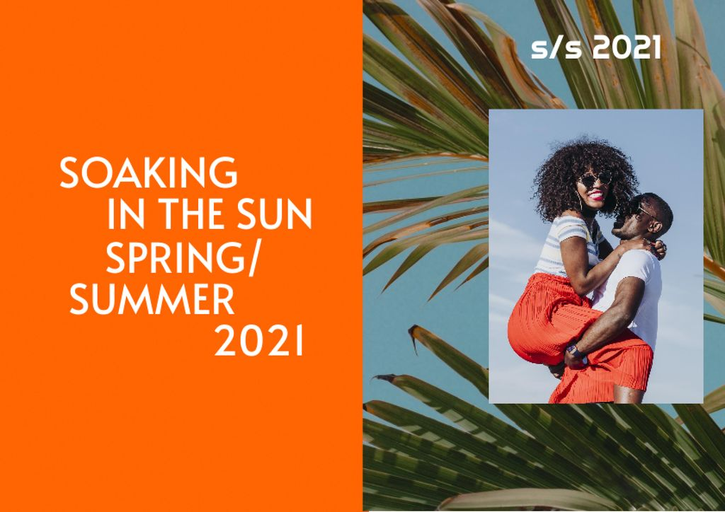 Stylish Couple in Bright Summer Outfit Brochure – шаблон для дизайна